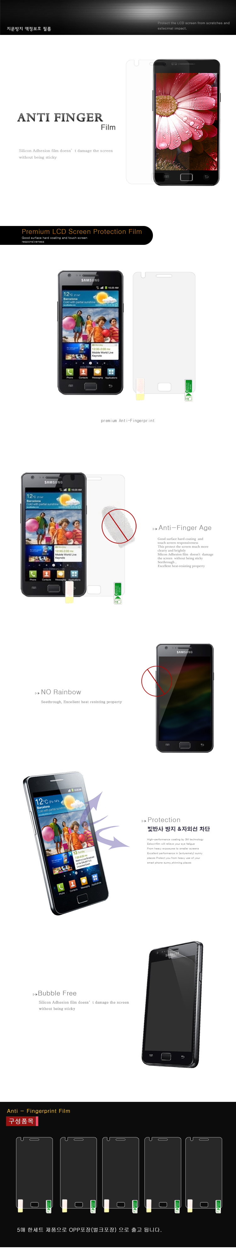 ANTI FINGER Premium LCD Screen Protection Film ANTI FINGER Age No Rainbow Protection 빛반사 방지 & 자외선 차단 Bubble Free